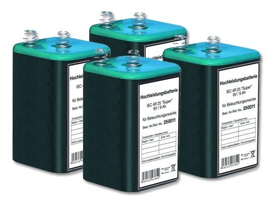 Blockbatterie 6 Volt / 9 Ah, IEC 4R25, Set = 4 Stück