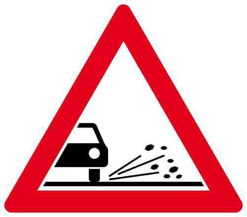 Verkehrszeichen Splitt, Schotter