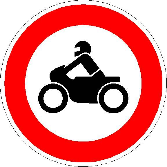 Verkehrszeichen Verbot für Krafträder, auch mit Beiwagen, Kleinkrafträder u. Mofas