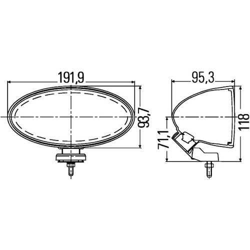 HELLA 1FB 007 892-841 Fernscheinwerfersatz Comet FF 300, oval, Anbau links/rechts hängend/stehend, H