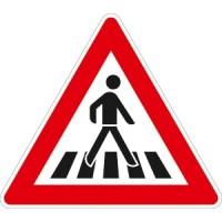 Verkehrszeichen Fußgängerüberweg, Aufstellung links