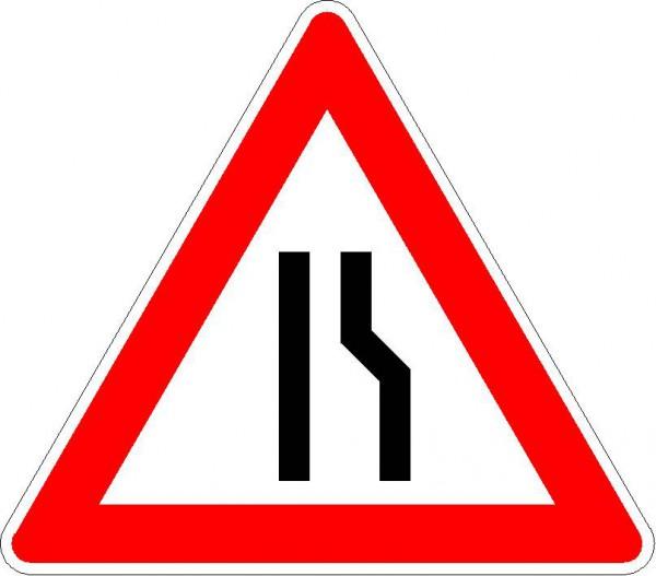 Verkehrszeichen Einseitig verengte Fahrbahn, Verengung rechts