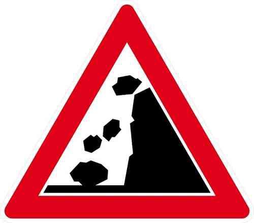 Verkehrszeichen Steinschlag, Aufstellung rechts