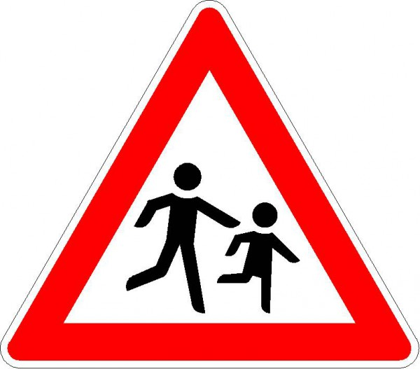 Verkehrszeichen Kinder, Aufstellung links