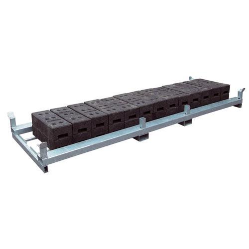Lager- und Transporttraverse für Bauzaunfüßen Fußplatten