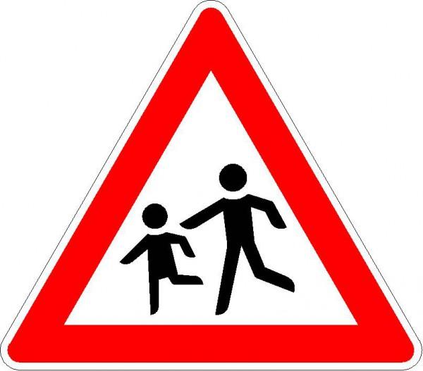 Verkehrszeichen Kinder, Aufstellung rechts