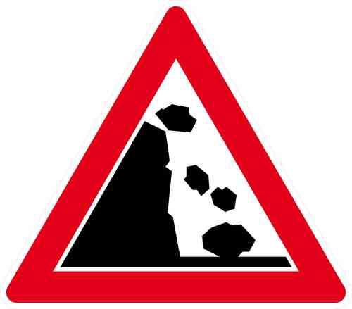 Verkehrszeichen Steinschlag, Aufstellung links