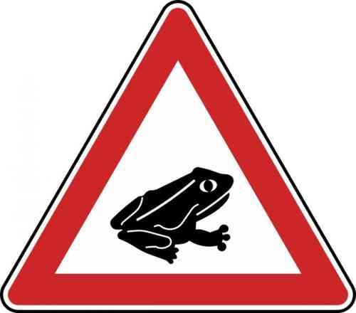 Verkehrszeichen Amphibienwanderung, Aufstellung links