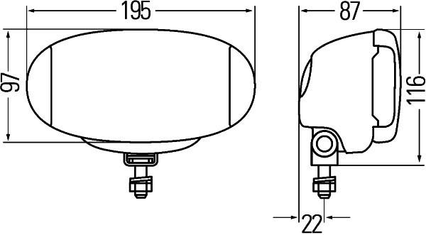 HELLA 1FD 010 953-001 FF/Halogen-Fernscheinwerfer - Comet FF 550 - 12/24V - oval - Anbau - glasklare
