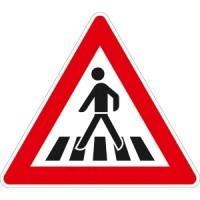 Verkehrszeichen Fußgängerüberweg, Aufstellung rechts
