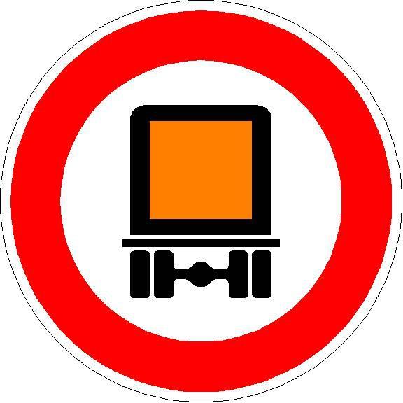 Verkehrszeichen Verbot für kennzeichnungspflichtige Kraftfahrzeuge mit gefährlichen Gütern