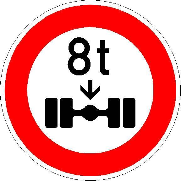 Verbot für Fahrzeuge über angegebener tatsächlicher Achslast
