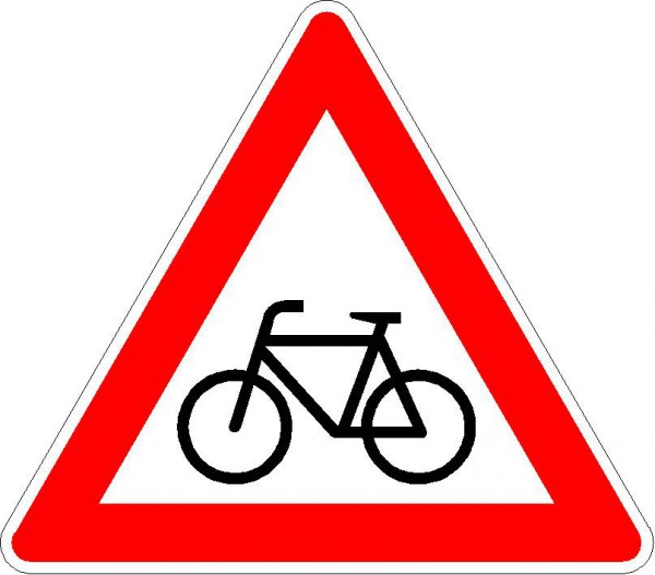 Verkehrszeichen Radverkehr, Aufstellung rechts